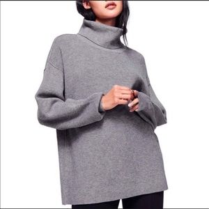 Free People Softly Structured Tunic Sweater Grey